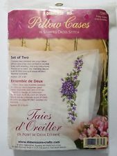 2 Dimensions Pretty Violets Pillow Cases Stamped Cross Stitch #72857