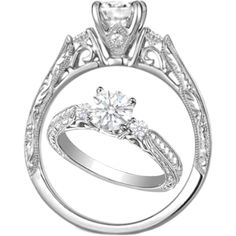 """""""Diamond Filigree Engagement Ring Cathedral Pave Engraved Band"""" by mdc-diamonds on Polyvore"""