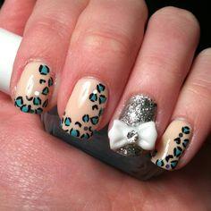 Instagram @Kells_Hotz #nails #bows #cheetah #blue #tan #fashion #makeup #glitter #silver