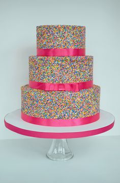 Pink Sprinkle Cake...without the ribbon.