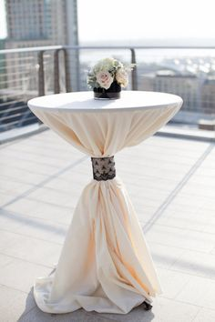 cinching in the table with contrasting lace