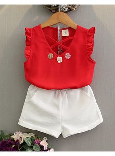 four- Toddler Girl Summer Clothes Baby Kids Girl Outfit Chiffon Vest T-Shirt+Shorts Pants Set Ropa Girls Summer Outfits, Summer Girls, Short Outfits, Kids Outfits, Summer Baby, 2017 Summer, Summer Clothes, Baby Girl Dresses, Baby Dress