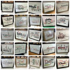 Framed Wordles for your students with their Name and adjectives describing them :) End of the year gift after every student writes down 1 adjective describing each one of their classmates