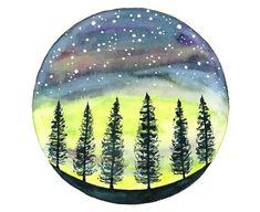 Acuarela original ilustración de Northern lights