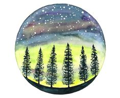 Original watercolor painting Northern lights by bluepalette