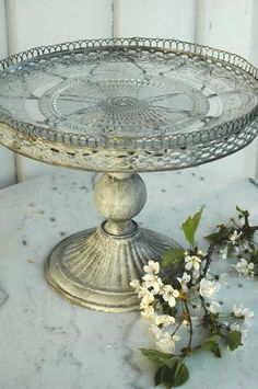 .Repurpose a silver tray and make this with a tray and candle stick.