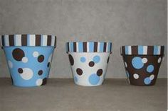 Hand painted flower pots with acrylic paint