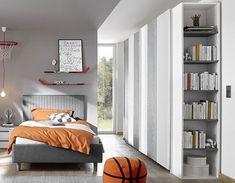 Armoire grise et blanche design NATHEO 4 Bookcase, Shelves, Bed, Furniture, Home Decor, Products, Grey Cabinets, Child Room, Contemporary Bedroom Furniture