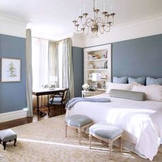 Grey Blue and White Bedroom - Interior Design Small Bedroom Check more at http://jeramylindley.com/grey-blue-and-white-bedroom/ #greycoastalbedrooms