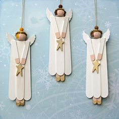 Dollar stores carry the craft / Popsicle sticks, craft stars, white paint, glitter or not, large wooden beads, sharpies. simple, easy enough for children, great for Sunday school, tree ornaments, gift tags