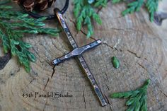 Rustic Hammered Cross Copper Pendant Hammered Cross