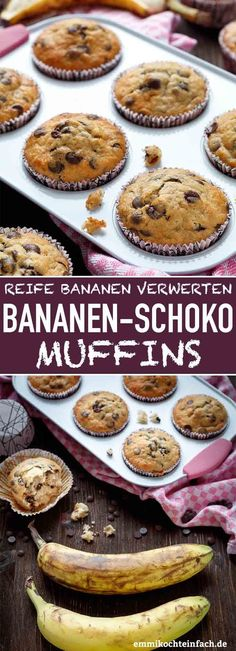 Einfache Bananen Schoko Muffins - emmikochteinfachSimple Banana Chocolate Muffins The ideal residual utilization for all ripe bananas that you no longer want to eat. The recipe is simple and uncomplicated, also ideal for baking with the kids Banana Recipes, Easy Cake Recipes, Muffin Recipes, Easy Desserts, Cookie Recipes, Dessert Recipes, Recipes Dinner, Cook Desserts, Simple Recipes