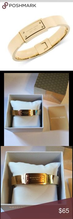 Michael Kors Logo Plaque Bangle Bracelet NWT Michael Kors Logo Plaque Bangle Bracelet. Crafted in  gold ion-plated steel.  Approximate diameter: 2-1/2 inches.  New with tags & box No Trades No Holds Michael Kors Jewelry Bracelets