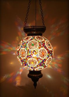 The mix of colours works well here, Turkish Style - Mosaic Lighting