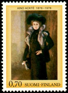 Finnish stamp for Aino Ackté (Albert Edelfelt's painting)