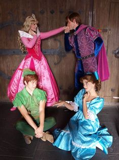 Aurora and Phillip from Sleeping Beauty and Peter Pan and Wendy Darling from Peter Pan Cosplay Disney