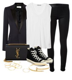 """""""Style #9144"""" by vany-alvarado ❤ liked on Polyvore featuring Helmut Lang, Yves Saint Laurent, T By Alexander Wang and Converse"""
