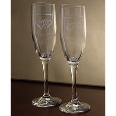 Silver Coupled Hearts Toasting Flutes