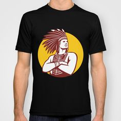 Native American Indian Chief Warrior Circle Retro T-shirt. Illustration of a native american indian chief wearing feather headdress with arms folded looking to the side viewed from front done in retro style set inside circle on isolated background. #illustration  #NativeAmericanIndianChief