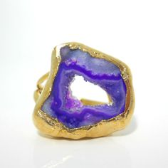 SALE+Purple+druzy+geode+ring++golddipped+by+jennleedesign+on+Etsy,+$48.30