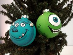 Mike and Sully form Monsters Inc / University are now painted Christmas ornaments! Check out Ginger Pots on Etsy for more!