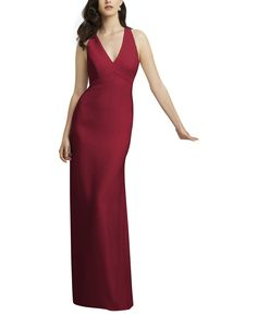 DescriptionDessy Collection 2938Full length bridesmaid dressSleeveless v-neckline with modified halterOpen backSlim slightly trumpet skirtCrepe