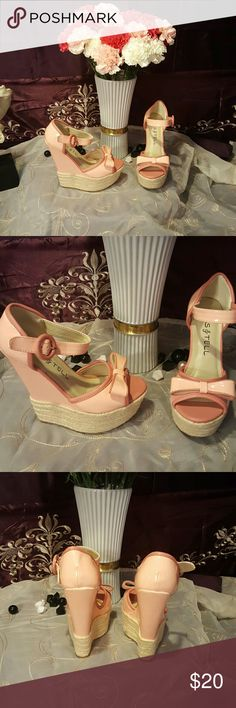 💋New kiss and tell wedges💋 Pretty pink wedge with 5in heel ankle wrap buckle kiss and tell  Shoes Wedges