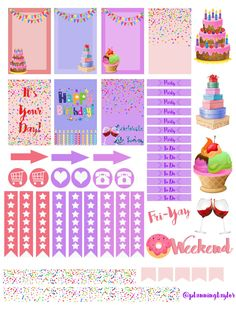 Hey everyone! In honor of my best friend's birthday I made this sticker set for her birthday week! We have been looking for the perfect sticker kit for her Happy Planner (which she just got- … 2017 Planner, Happy Planner, Free Planner, Planner Ideas, Planners, Printable Planner Stickers, Free Printables, Bullet Journal, Filofax