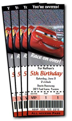 New Disney Cars Birthday Party Invitations Etsy Ideas Disney Cars Movie, Disney Cars Party, Disney Cars Birthday, Disney Invitations, Ticket Invitation, Birthday Party Invitations, Invitation Ideas, Lightning Mcqueen Party, Race Car Birthday