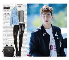 """Hang out w/ Shownu (Monsta X)"" by a-kookie ❤ liked on Polyvore featuring Alexander Wang, Levi's, Swarovski, monstax, shownu and sonhyunwoo"