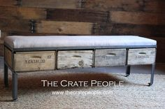 Foot bench, storage bench, ottoman, bench, dining bench, table bench, garin sack fabric   4 Drawer Storage Bench  Vintage Wood Crates & by FoundInAttic