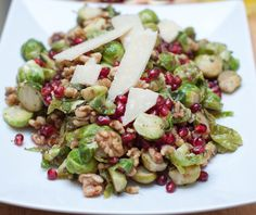 ... roasted brussels sprouts, pomegranates, and walnuts topped with parm