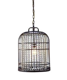 Garrison Rose : coffee brushed gold metal 14-inch birdcage ceiling fixture