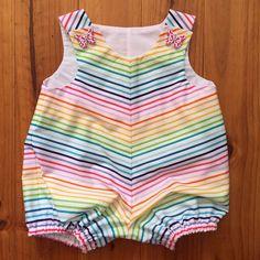 Baby Romper Girl Rainbow Stripe Butterfly by SpirwellSewing