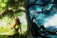 Another picture from the Day and Night series by Rebekah Holguin. Hades and Persephone Story Inspiration, Writing Inspiration, Character Inspiration, Hades Und Persephone, Fantasy World, Fantasy Art, Fantasy Story, Elfen Fantasy, A Court Of Mist And Fury