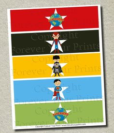 Superhero Water Bottle Labels - Party Favor - DIY - You Print. $5.00, via Etsy.