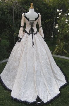 Corseted black and white medieval gown