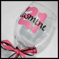 Wine Glass  21st birthday personalized by CreatedforMe http://www.etsy.com/ca/shop/CreatedforMe    Birthday Banner, photo prop, photo banner, cake smash, photography banner, 21st birthday, 1st birthday, high chair banner, highchair banner, zebra, paper, die cut,  birthday, graduation, 21st, 40th, 50th, polka dot, etsy, handmade, Disney, cake, center piece, centerpiece, cupcake, cup cake, decoration, personalized, custom