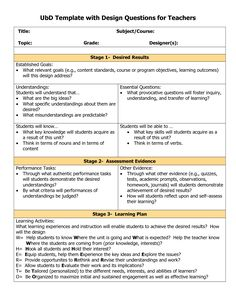 Backward Planning Template | Backward Design Lesson Plan Template ...