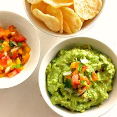 creamy organic guacamole and peach salsa
