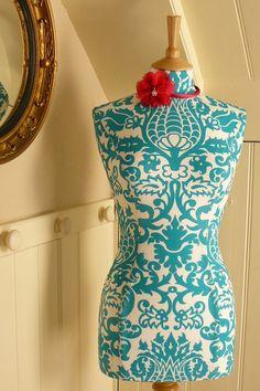 Vibrant Turquoise Damask Display Mannequin Dressform