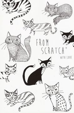what kt does PORTFOLIO I really enjoy hand drawn doodles. They have such a charm that digital art can't match sometimes. The lines are great and the cats are all very unique. Cat Drawing, Painting & Drawing, Doodles, Cute Illustration, Doodle Art, Cat Art, Illustrators, Art Paintings, Indian Paintings
