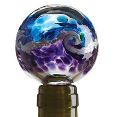 Kitras~ WINE STOPPER~ Hand Blown Glass - Purple & Blue - Van Glow Pattern - NEW!