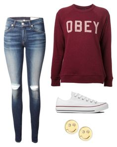 """Untitled #140"" by makaylaminard ❤ liked on Polyvore featuring rag & bone, Converse, OBEY Clothing and Sydney Evan"