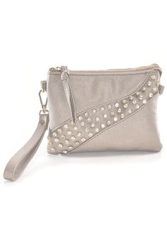 """These metallic textured vegan leatherclutchesinclude a detachable wrist strap and shoulder or crossbody strap. They include beautiful rhinestone detailing, a secure zippered closure, two main sections, an inside zippered pocket plus slots for 8 credit cards.    Measures: 5"""" x 7"""" x 1 1/2""""   Multi Strap Clutch by Charlie Paige. Bags - Clutches Virginia"""