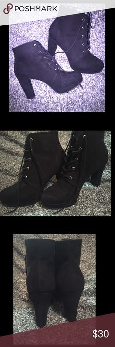 Faux Suede Ankle Booties A Pair Of Ankle Booties Crafted From A Faux Suede And Featuring A Lace-Up Front, Slight Platform, And A Stacked Heel. Worn once for a few hours. Shoes Ankle Boots & Booties
