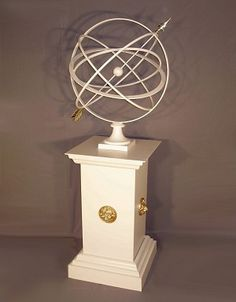Large Armillary Sphere Garden Art on Square Lion Plinth Pedestal finegardenproducts.com