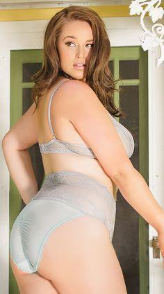 Plus Size Ultramarine Bralette and Crotchless Panty, Bra Set, Sexy Crotchless Lingerie