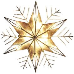 Kurt Adler Gold Snowflake Tree Topper (1,350 MKD) ❤ liked on Polyvore featuring home, home decor, holiday decorations, christmas, winter, no color, xmas tree toppers, snowflake tree topper, christmas tree topper and christmas home decor