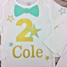 Mint Green and Gold Personalized Bow Tie Birthday Onesie or Shirt - Twinkle Twinkle Little Star - Birthday Boy Outfit, Any Colors and Age by CamiAndJo on Etsy